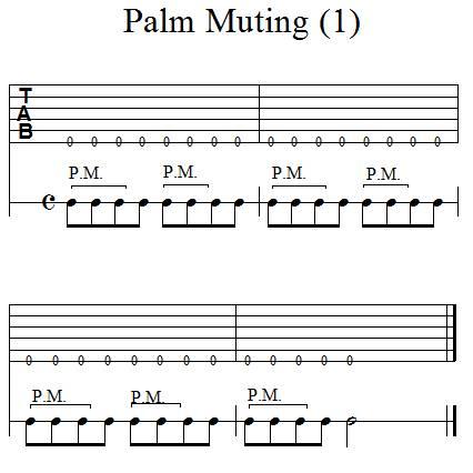 Accompagnement rythmique à la guitare - Palm Muting - 1