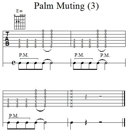Accompagnement rythmique à la guitare - Palm Muting - 3