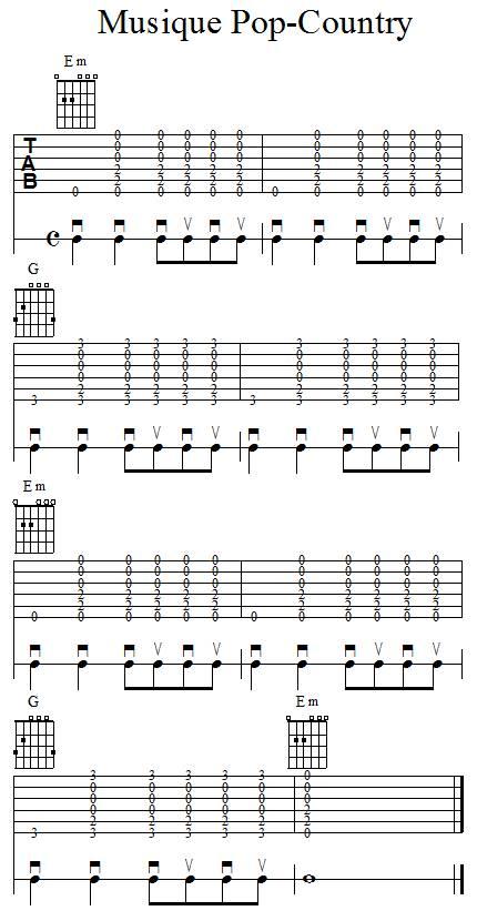 Accompagnement rythmique à la guitare - country pop