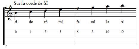 Positions des notes sur la corde de si